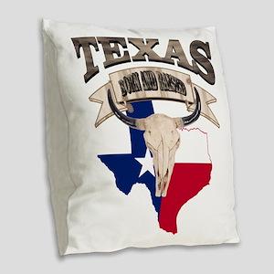 Bull Skull Texas home Burlap Throw Pillow