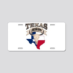 Bull Skull Texas home Aluminum License Plate