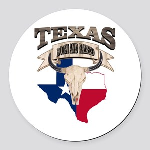 Bull Skull Texas home Round Car Magnet