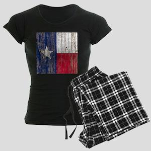 barn wood Texas Flag Women's Dark Pajamas