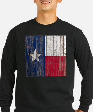 barn wood Texas Flag Long Sleeve T-Shirt