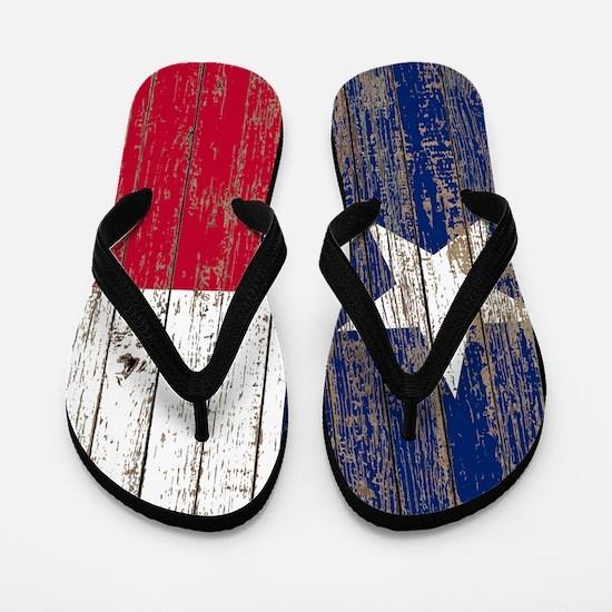 barn wood Texas Flag Flip Flops