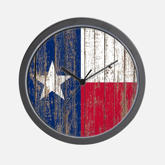 barn wood Texas Flag Wall Clock