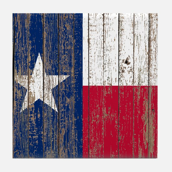 barn wood Texas Flag Tile Coaster