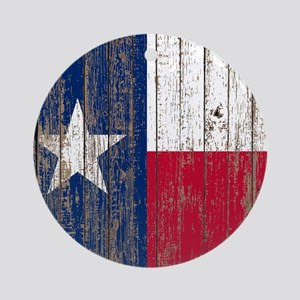 barn wood Texas Flag Round Ornament