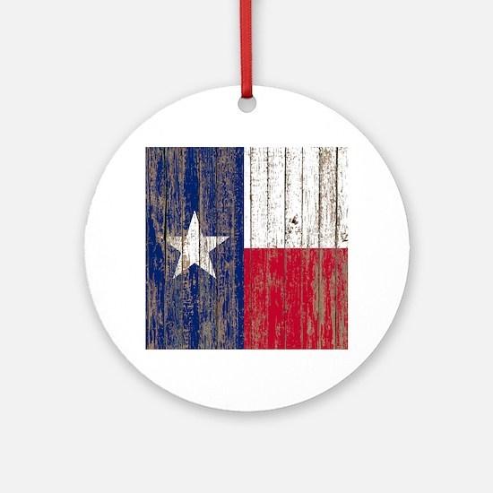 barn wood Texas Flag Round Ornament