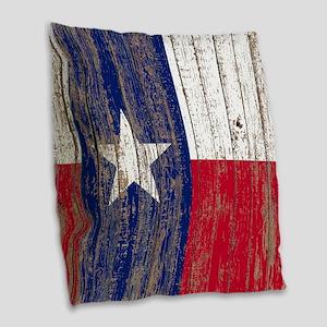 barn wood Texas Flag Burlap Throw Pillow
