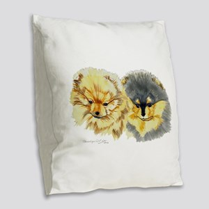 Pomeranian Pups Burlap Throw Pillow