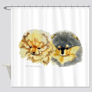 Pomeranian Pups Shower Curtain