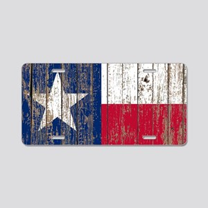 barn wood Texas Flag Aluminum License Plate