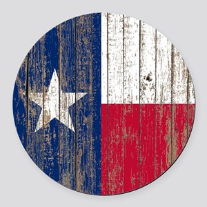 barn wood Texas Flag Round Car Magnet