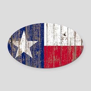 barn wood Texas Flag Oval Car Magnet