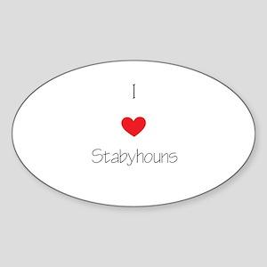 I love Stabyhouns Sticker (Oval)