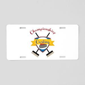 Championship Curling Aluminum License Plate