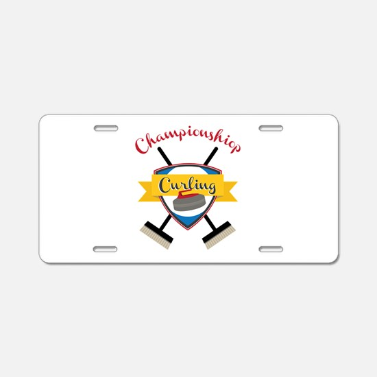 Championship Curling Aluminum License Plate
