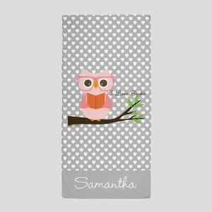 Cute Owl Reading Beach Towel