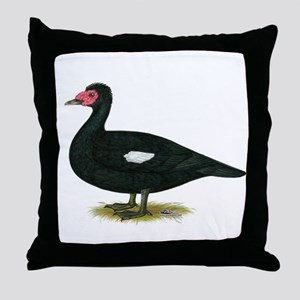 Muscovy Black Drake Throw Pillow