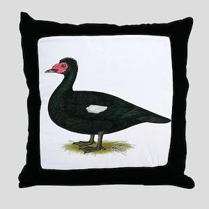 Muscovy Black Drake Throw Pillow