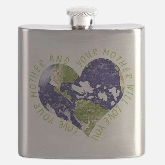 Love your Mother Earth Day Heart Flask