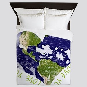 Love your Mother Earth Day Heart Queen Duvet