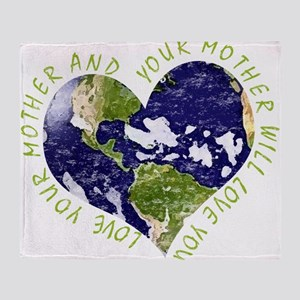Love your Mother Earth Day Heart Throw Blanket