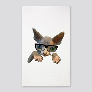 Hairless Kitty with glasses Area Rug