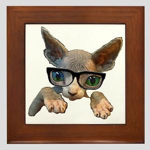 Hairless Kitty with glasses Framed Tile