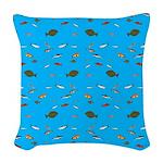 Alaska Fish Scattter 4x4 render Woven Throw Pillow