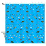 Alaska Fish Scattter 4x4 render Shower Curtain