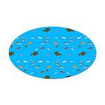 Alaska Fish Scattter 4x4 render Oval Car Magnet