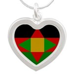 Washitaw Flag Silver Heart Necklace