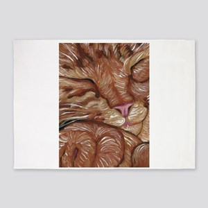 Sleepy Orange Tabby Cat 5'x7'Area Rug