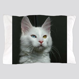 turkish angora two colored eyes white Pillow Case