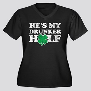 He's My Drun Women's Plus Size V-Neck Dark T-Shirt