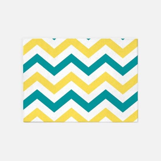 Teal & Yellow Chevron Stripes Patte 5'x7'Area Rug