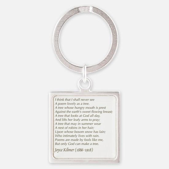 Cute Tree poem Square Keychain