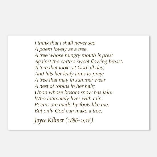 Joyce Kilmer Tree Poem Postcards (package Of 8)