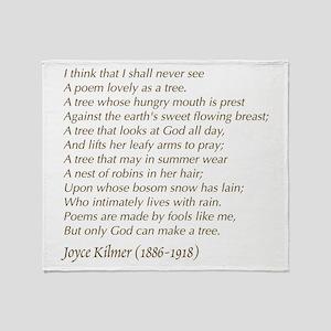 Joyce Kilmer Tree Poem Throw Blanket