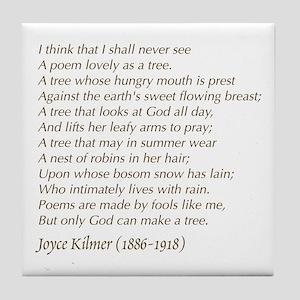 Joyce Kilmer Tree Poem Tile Coaster