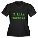I Like Turtles Women's Plus Size V-Neck Dark T-Shi