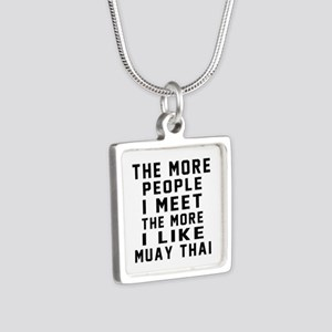 I Like Muay Thai Silver Square Necklace