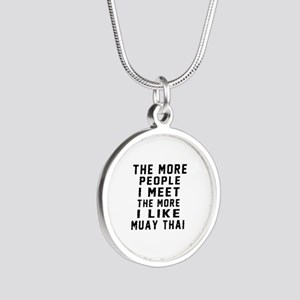 I Like Muay Thai Silver Round Necklace