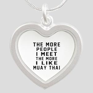I Like Muay Thai Silver Heart Necklace