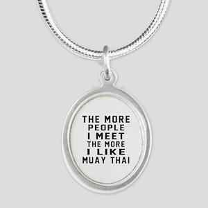 I Like Muay Thai Silver Oval Necklace