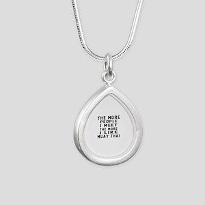I Like Muay Thai Silver Teardrop Necklace