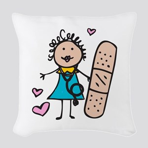 Woman Nurse Woven Throw Pillow