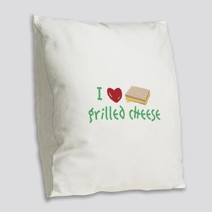 Grilled Cheese Heart Burlap Throw Pillow