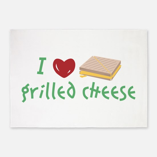 Grilled Cheese Heart 5'x7'Area Rug
