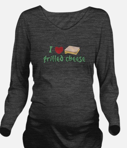 Grilled Cheese Heart Long Sleeve Maternity T-Shirt