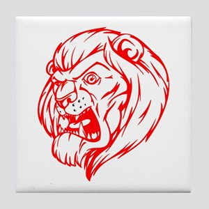 Lion Mascot (Red) Tile Coaster